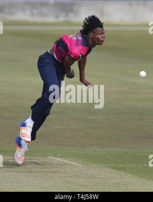 Chester Le Street, UK. 17th Apr, 2019. Blessing Muzarabani of Northants during the Royal London One Day Cup match between Durham County Cricket Club and Northamptonshire County Cricket Club at Emirates Riverside, Chester le Street on Wednesday 17th April 2019. (Credit: Mark Fletcher | MI News) Credit: MI News & Sport /Alamy Live News - Stock Photo