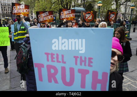 Manhattan, New York, USA. 17th Apr, 2019. Protesters against climate change hold rally outside of the City Hall in Manhattan Borough of New York. Credit: Go Nakamura/ZUMA Wire/Alamy Live News - Stock Photo