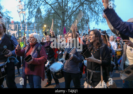 London, UK. 17th April, 2019. Parliament Square, London. Scenes at Parliament Square as environmental campaign group Extinction Rebellion close the square to through traffic. Credit: Penelope Barritt/Alamy Live News - Stock Photo