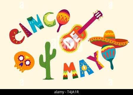 Mexican holiday 5 may celebration Cinco De Mayo. Beautiful vector illustration with cartoon design template. Traditional Latin America funny symbols s - Stock Photo
