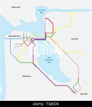 Metro map of San Francisco and the california bay area - Stock Photo
