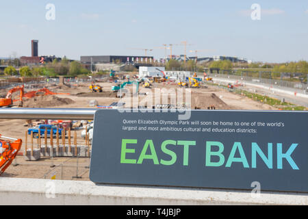 Queen Elizabeth Olympic Park, East Bank educational district under construction, Stratford, London, England, United Kingdom. - Stock Photo