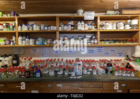 Chemicals store in a school science department. - Stock Photo