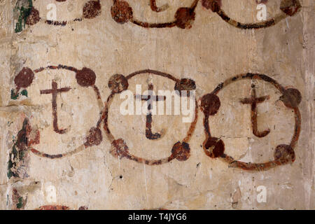 Medieval wall paintings in St Etheldreda`s Church, Horley, Oxfordshire, England, UK - Stock Photo