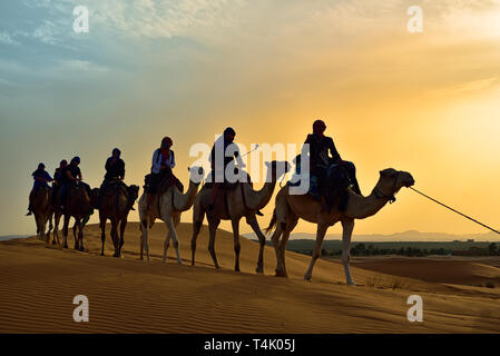 Merzouga is a village in the Sahara Desert in Morocco, on the edge of Erg Chebbi, a 50km long and 5km wide set of sand dunes that reach up to 350m hig - Stock Photo