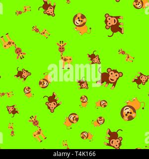 Seamless pattern of giraffe lion and monkey. Vector illustration in cartoon style on a colored background. - Stock Photo