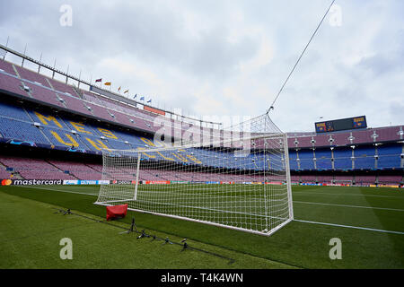 BARCELONA, SPAIN - APRIL 16:  General view inside the stadium prior to the UEFA Champions League Quarter Final second leg match between FC Barcelona and Manchester United at Camp Nou on April 16, 2019 in Barcelona, Spain. (Photo by David Aliaga/MB Media) - Stock Photo