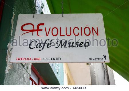 Santa Clara, Cuba, Cafe-Museum Revolucion, low angle view of the entrance sign. - Stock Photo