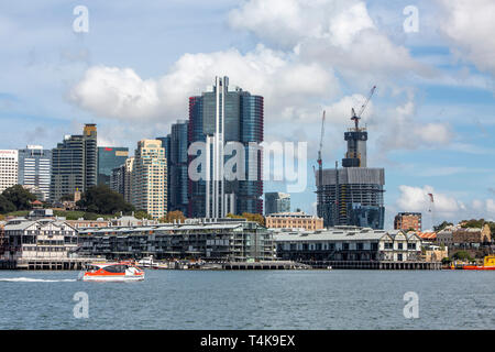 Sydney city centre and office towers at Barangaroo including Crown Casino under construction,Sydney,Australia - Stock Photo