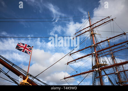 Dundee / Scotland - April 14th 2019: The exterior of the RRS Discovery, the last wooden three mast steamship built in the UK - Stock Photo