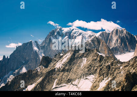 view to Mont Blanc mountain peak, from Punta Helbronner at Courmayeur, Italy - Stock Photo