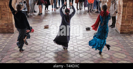 traditional spanish street falmenco dancer at the main square Plaza de Espana in Andalisia Seville Spain - Stock Photo