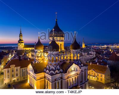 Russian orthodox Alexander Nevsky cathedral in Tallinn, Estonia. - Stock Photo
