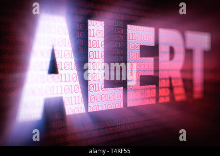 ALERT bright glowing word on computer screen filled with binary code - Stock Photo