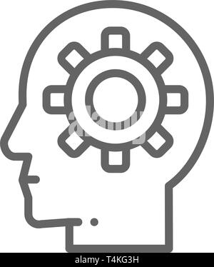 Head with gear, brain process, knowledge, think, idea line icon. - Stock Photo