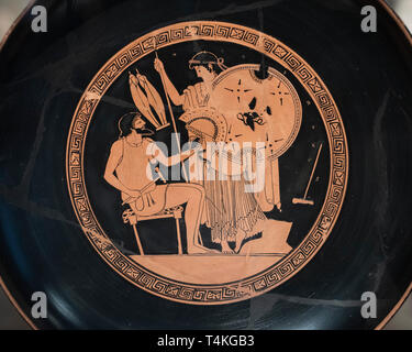 Berlin. Germany. Altes Museum. Drinking Cup of the Foundry Painter: Hephaestus gives Thetis weapons for Achilles. Attic red-figure Cup / Kylix, clay,  - Stock Photo