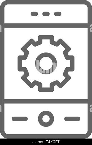 Phone with gear, smartphone repair, mobile development line icon. - Stock Photo