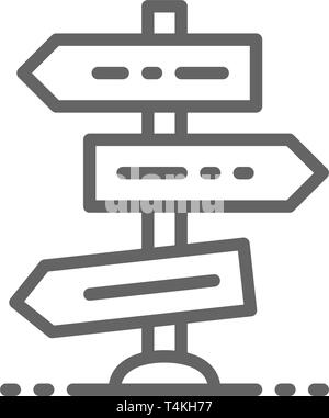 Road or traffic sign, intersection, crossroads, crossroad line icon. - Stock Photo