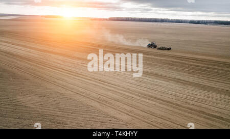 tractor plows the field at sunset. Agriculture view aerial photography.