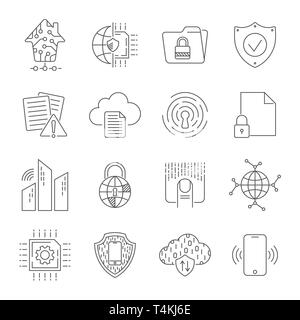Simple set of abstract electronics and digital technology related vector line icons. Editable Stroke. EPS 10 - Stock Photo