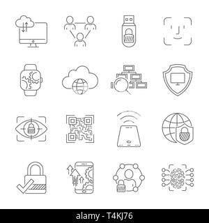 Cyber technology, networks, protection, connection. Vector icons set. Technologies of digital space. Editable Stroke. EPS 10 - Stock Photo