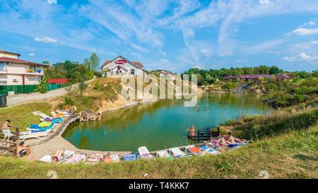 Ocna Sibiului, Romania - September  2, 2018: Spa and resort with natural thermal salt lake, Ocna Sibiului, Transylvania, Romania - Stock Photo