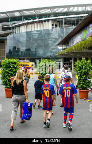 Young supporters, Camp Nou, FC Barcelona Stadium, Barcelona, Catalonia, Spain - Stock Photo