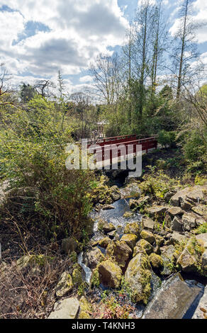 Chinese hillside with red bridge at The Royal Botanic Garden Edinburgh Scotland UK - Stock Photo