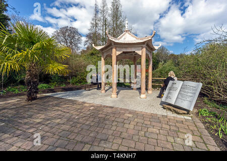 Chinese pavilion with red bridge on chinese hilside at The Royal Botanic Garden Edinburgh Scotland UK - Stock Photo