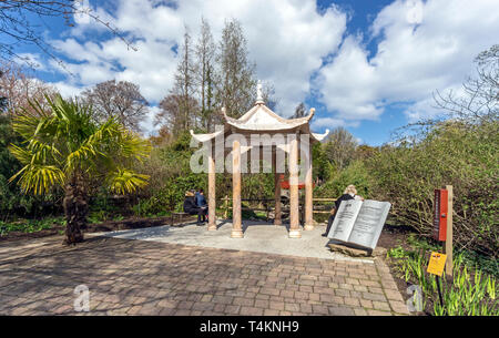 Chinese pavilion and hillside with red bridge at The Royal Botanic Garden Edinburgh Scotland UK - Stock Photo
