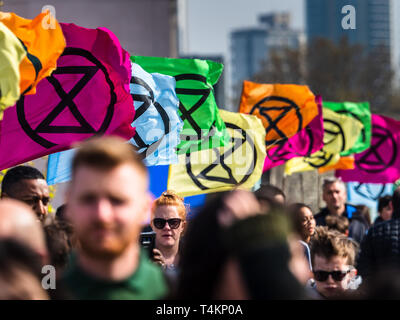 Extinction rebellion Protest on Waterloo Bridge in Central London. The protest closed the bridge to traffic. - Stock Photo