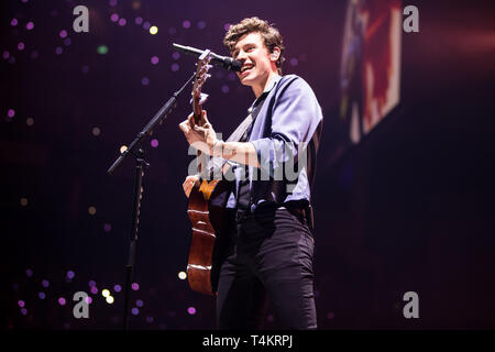 Shawn Mendes performing at The 02 Arena. London on the 16th of April 2019. UK Tour - Stock Photo