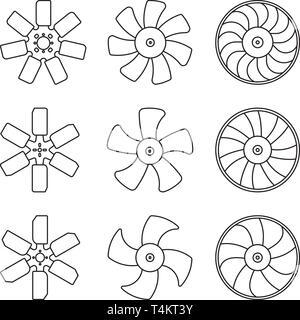 Radiator fan blade icons set. Car parts. Thin line vector - Stock Photo