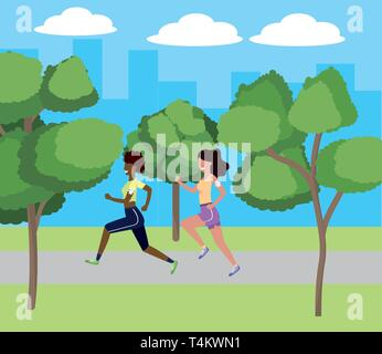 women running with sportwear avatar cartoon character park landscape vector illustration graphic design - Stock Photo
