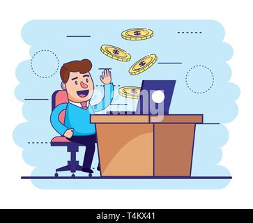 man seating with laptop in the desk and coins vector illustration - Stock Photo