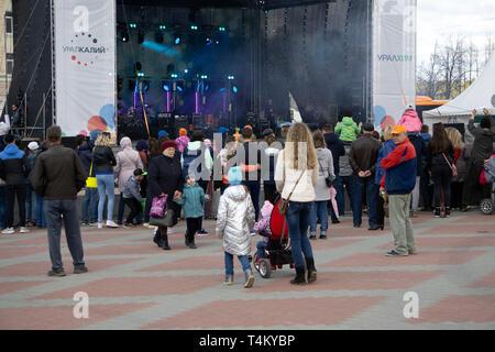 tourists gather under the Prague astronomical clock . Russia Berezniki 26 may 2019 - Stock Photo