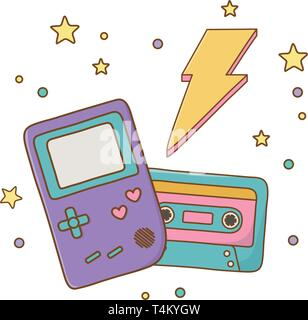 game boy cassette and lighting icon cartoon vector illustration graphic design - Stock Photo