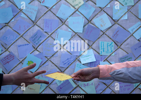 Whiteboard covered with adhesive notes . Russia Berezniki 26 may 2019 . - Stock Photo