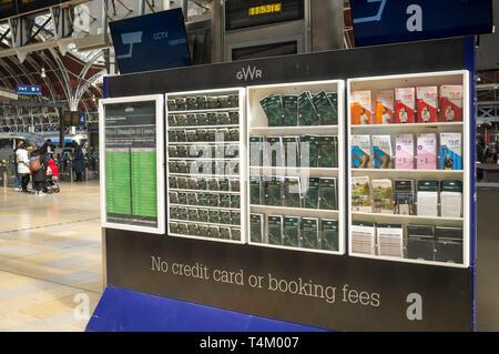Train timetables at Paddinton Station, London - Stock Photo