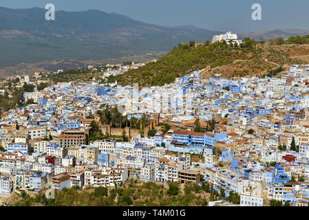 Chefchaouen, or Chaouen, is a city in the Rif Mountains of northwest Morocco. It's known for the striking, variously hued blue-washed buildings of its - Stock Photo