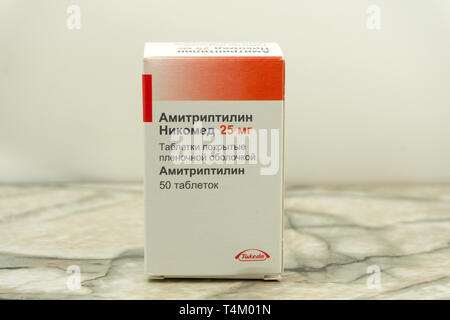 amitriptyline-Packed antibiotic Resistance. Pharmaceutical industry. The concept of antimicrobial resistance. . Russia Berezniki 28 September 2018 . - Stock Photo