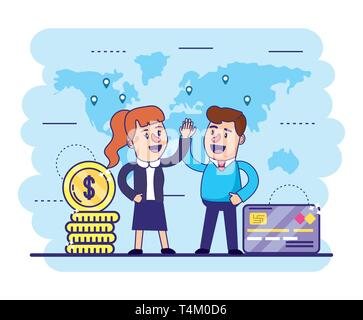 woman and man with credit card and coins vector illustration - Stock Photo