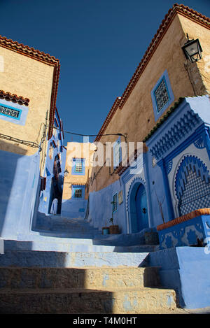 It's known for the striking, variously hued blue-washed buildings of its old town  Taken @Chefchaouen, Morocco, North Africa - Stock Photo