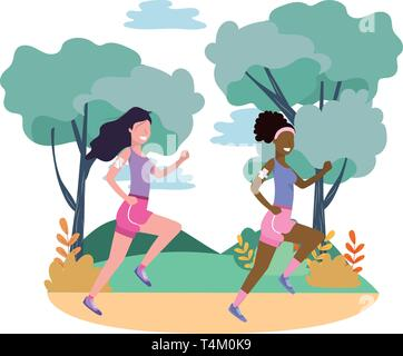 women running with sportwear avatar cartoon character rural landscape vector illustration graphic design - Stock Photo