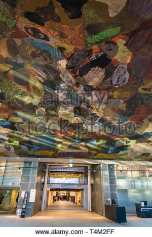 Ceiling painting in Black Diamond building, a modern waterfront extension to the Royal Danish Library's old building on Slotsholmen in central Copenha - Stock Photo