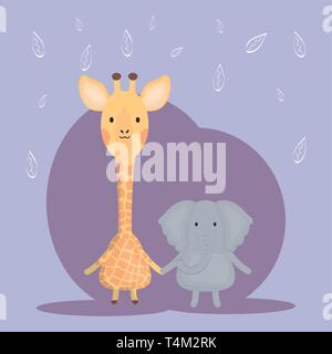 cute giraffe and elephant adorable characters vector illustration design - Stock Photo