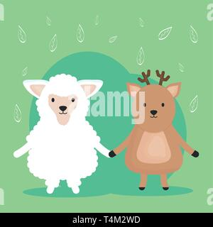 cute sheep and reindeer adorable characters vector illustration design - Stock Photo