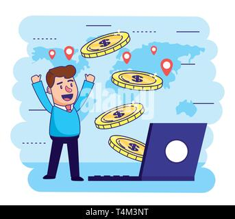 man with electronic laptop and coins transaction vector illustration - Stock Photo