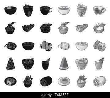 Vegetarian dish black.mono icons in set collection for design.Vegetable and milk food vector symbol stock  illustration. - Stock Photo