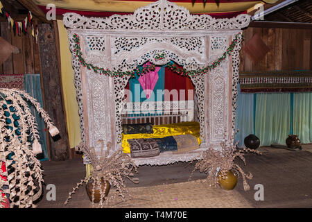 The bedroom of Malay wooden house - Stock Photo